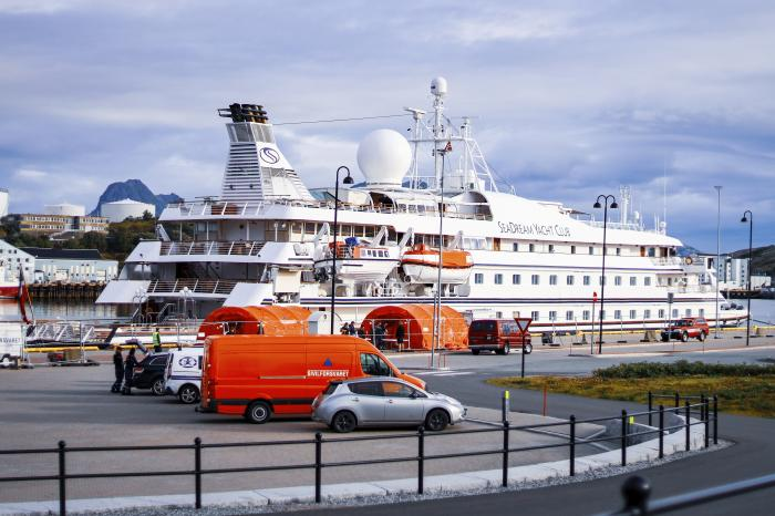 The cruise ship SeaDream 1 at the quay in Bodoe, Norway,