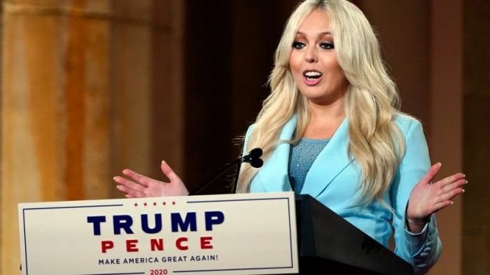 Tiffany Trump speaks as she tapes her speech for the second day of the Republican National Convention from the Andrew W. Mellon Auditorium in Washington, Tuesday, Aug. 25, 2020.