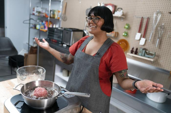 """Chef Sohla El-Waylly prepares Swedish meatballs during a taping of """"Stump Sohla,"""" in New York."""