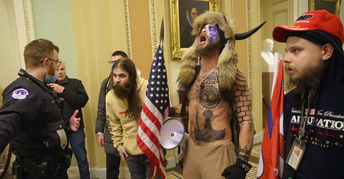 Jake Angeli (aka Q Shaman) in the U.S. Capitol on Wednesday, January 6, 2021