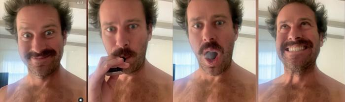 Armie Hammer in screenshots from one of his Instagram videos