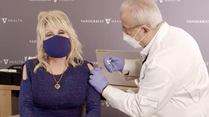 Dolly Parton gets her COVID vaccine.