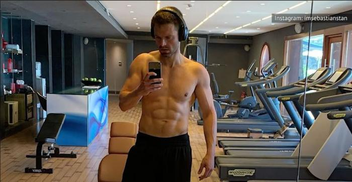 Sebastian Stan in a workout video on his Instagram