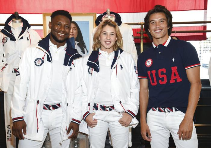 Athletes Daryl Homer (Fencing), left, Jordyn Barratt (Skateboard) and Heimana Reynolds (Skateboard) participate in the Team USA Tokyo Olympic closing ceremony uniform unveiling.