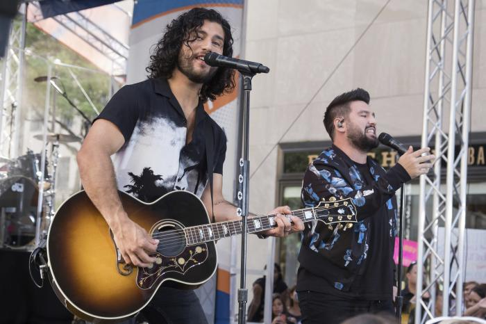 Dan Smyers, left, and Shay Mooney from the band Dan + Shay perform on NBC's Today show in New York