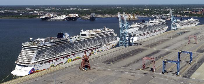 Norwegian cruise ships are docked at Portsmouth Marine Terminal in Portsmouth, Va.