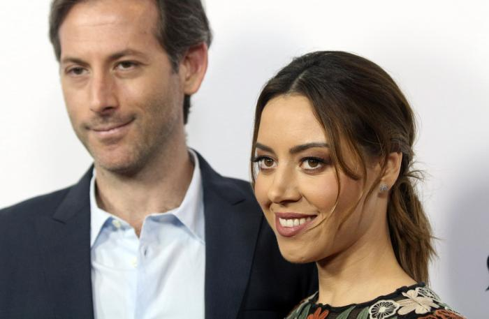 """In this Monday, June 19, 2017,, file photo, Aubrey Plaza, right, and Jeff Baena arrive at the premiere of """"The Little Hours"""" at the 2017 Los Angeles Film Festival in Culver City, Calif."""