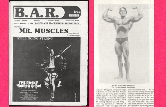 The Rocky Horror Show' and Arnold Schwarzenegger in the March 18, 1976 B.A.R.