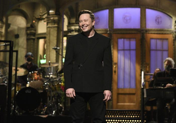 """Elon Musk delivering his opening monologue on """"Saturday Night Live"""""""