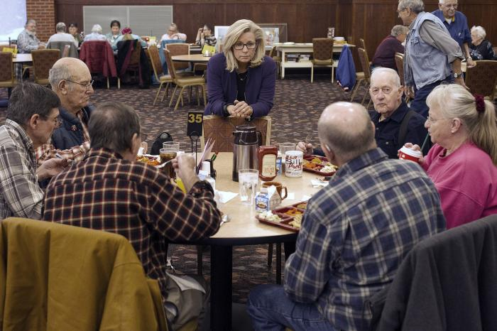 Liz Cheney, center, talks to people at the Senior Citizens Center in Gillette, Wyo.