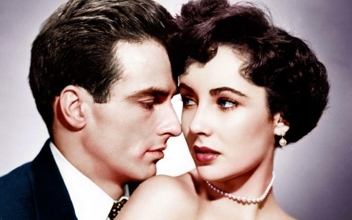 """Montgomery Clift and Elizabeth Taylor in a promotional photo for """"A Place in the Sun"""" (1951)"""