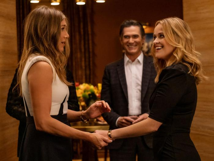 """Jennifer Aniston Billy Crudup and Reese Witherspoon in """"The Morning Show"""" premiering September 17 2021 on Apple TV+"""